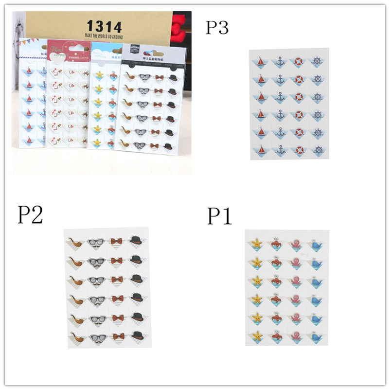 1 Sheets Cute Paper Cartoon Animals Corner Stickers For Photo Albums Scrapbooking Frame Decoration 9*12.5cm
