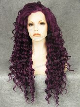 N18-3700 Top Beauty Stunning Curly Purple Synthetic Lace Front Wig Rupaul Wig Cosplay wig