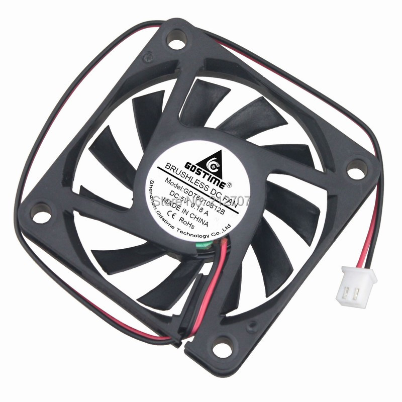 Купить с кэшбэком 1 Piece Gdstime DC 5V 60mm 6010 60x60x10mm 6cm 2Pin Brushless Cooling Cooler Fan