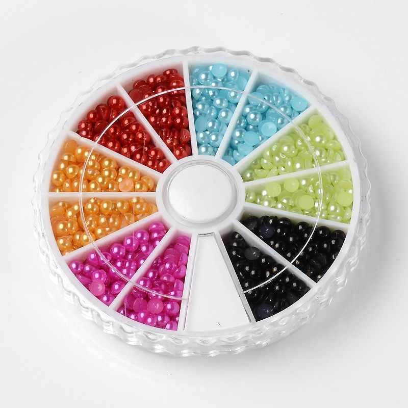 Drop Shipping 6 kolory 3mm ABS imitacje pereł półokrągłe Flatback perły żywica księga gości koraliki udekoruj Diy 1260 sztuk/pudło