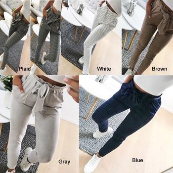 Womens High Waist Pants New Bowknot Paperbag Cigaratte Stripe Trousers Ladies Casual прямые штаны с бантом