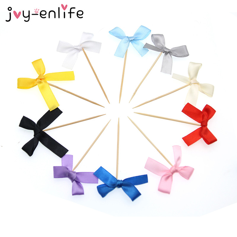 JOY ENLIFE 12pcs Birthday Decoration Ribbon Bow Cupcake Topper Baby Shower 1st Birthday Party Wedding Party
