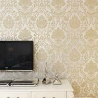Europe Luxury Damascus Glitter 3D Embossed Flocking Non Woven Wallpaper Floral Mural Living Room Bedroom TV