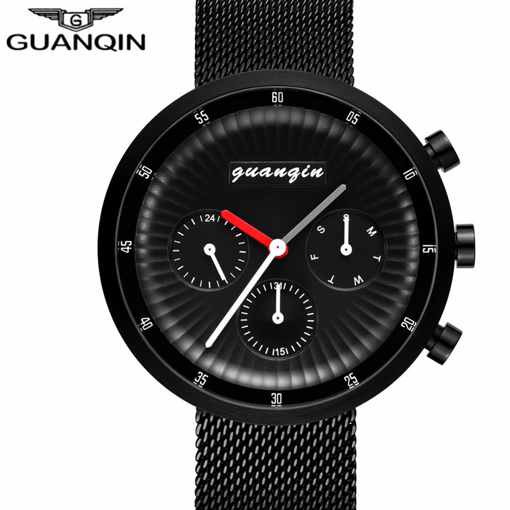 2018 GUANQIN Top Brand New Luxury Watches Men Business Mesh Strap Clock Men Sport Full Steel Quartz Wristwatch relogio masculino xinge top brand luxury leather strap military watches male sport clock business 2017 quartz men fashion wrist watches xg1080