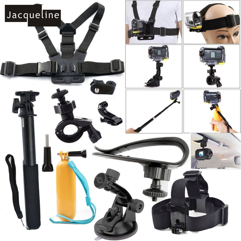 JACQUELINE for Accessories Kit Set for Sony Action Cam HDR AS50 AS20 AS200V AS30V AS300 AS15 AS100V AZ1 mini FDR-X1000V/W 4 k dz chm1 clip head mount kit for sony action camera fdr x1000v hdrr as200v hdr az1vr hdr as100v