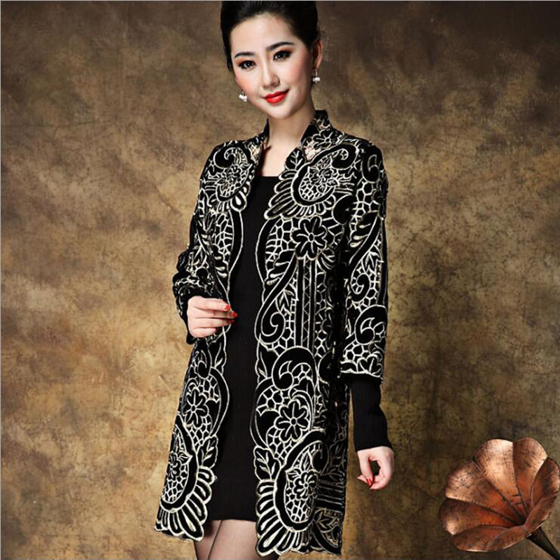 YSMILE Y Women Elegant Embroidery Loose Gold Velvet Trench Coat Mother Fitted Autumn Winter Open Stitch Plus Size XL 5XL