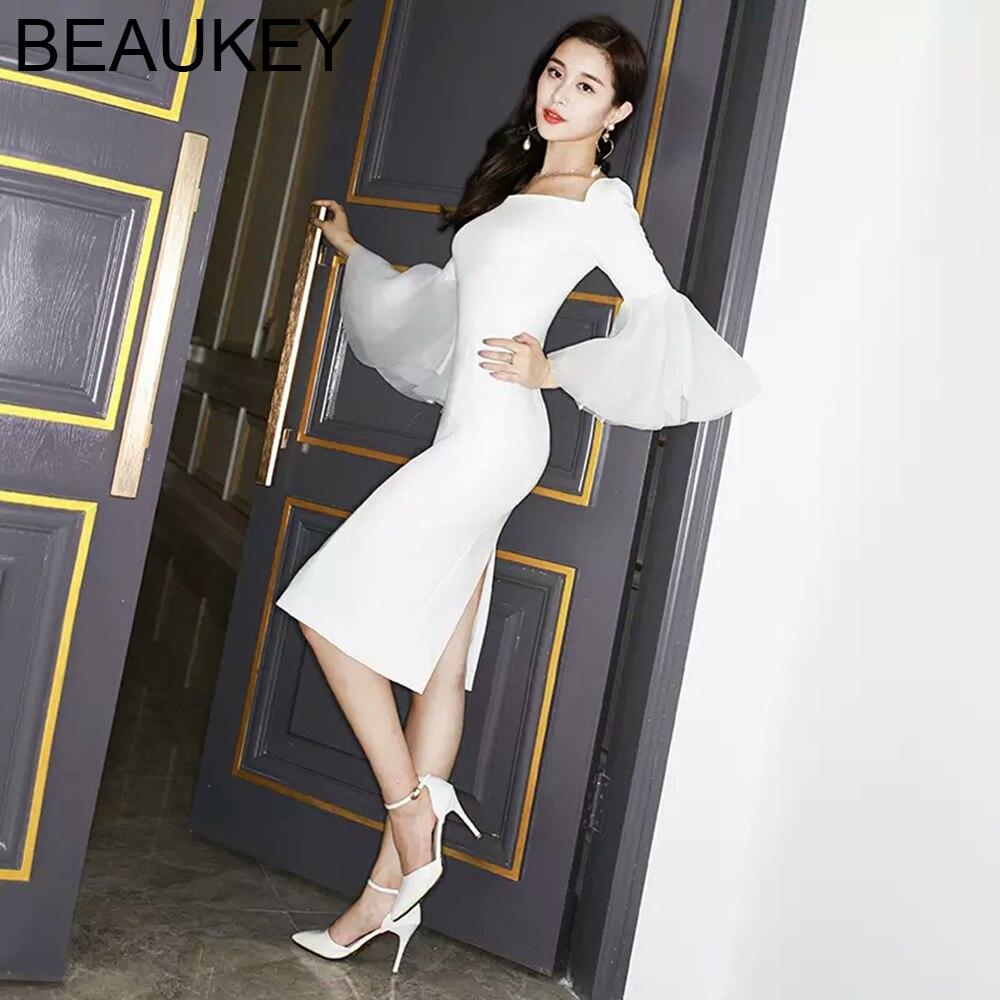 White New Fashion Ladies Square Collar Half Flare Sleeve Knee Length Split Party Dress Top Rayon Bandage Dress