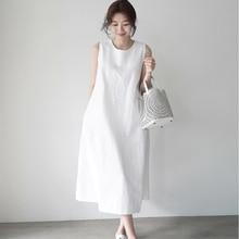 Summer Sleeveless Casual Long White Dress Women Cotton Linen Pockets Loose Elegant Dress summer sleeveless loose plaid dress women casual pockets long elegant dress plus size