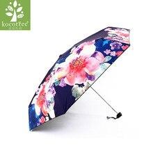 50389997f Women Floral Umbrella Folding Waterproof UV Sun Umbrella Art Drawing Flower Umbrella  Mini Sunny Parasol Lady Travel Umbrellas