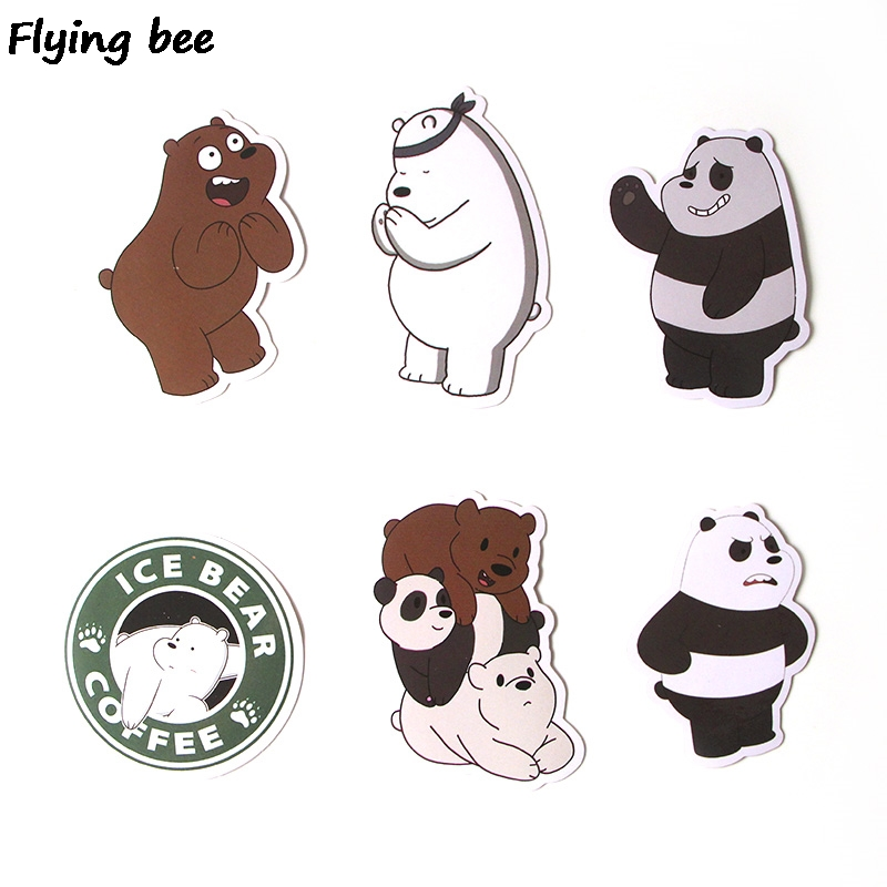 Image 4 - Flyingbee 37 Pcs We Bare Bears Graffiti Stickers for Kids DIY Luggage Laptop Skateboard Car Bicycle Waterproof Sticker X0293-in Stickers from Consumer Electronics