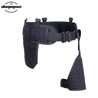 Tactical Army MOLLE Waist Belt Airsoft Paintball Hunting Combat Belt with Leg Holster Platform