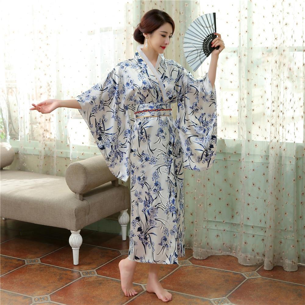 Vintage Japanese Women Satin Kimono Yukata Haori With Obi Evening ... fe7ad95fa0b2