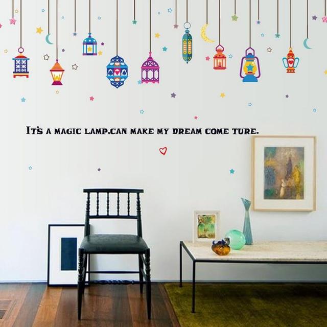 Kronleuchter Sterne Mond Wandaufkleber Aufkleber Englisch Letterhome Papier  Bild Diy Wandbild Kind Kindergarten Baby Wohnzimmer Dekoration