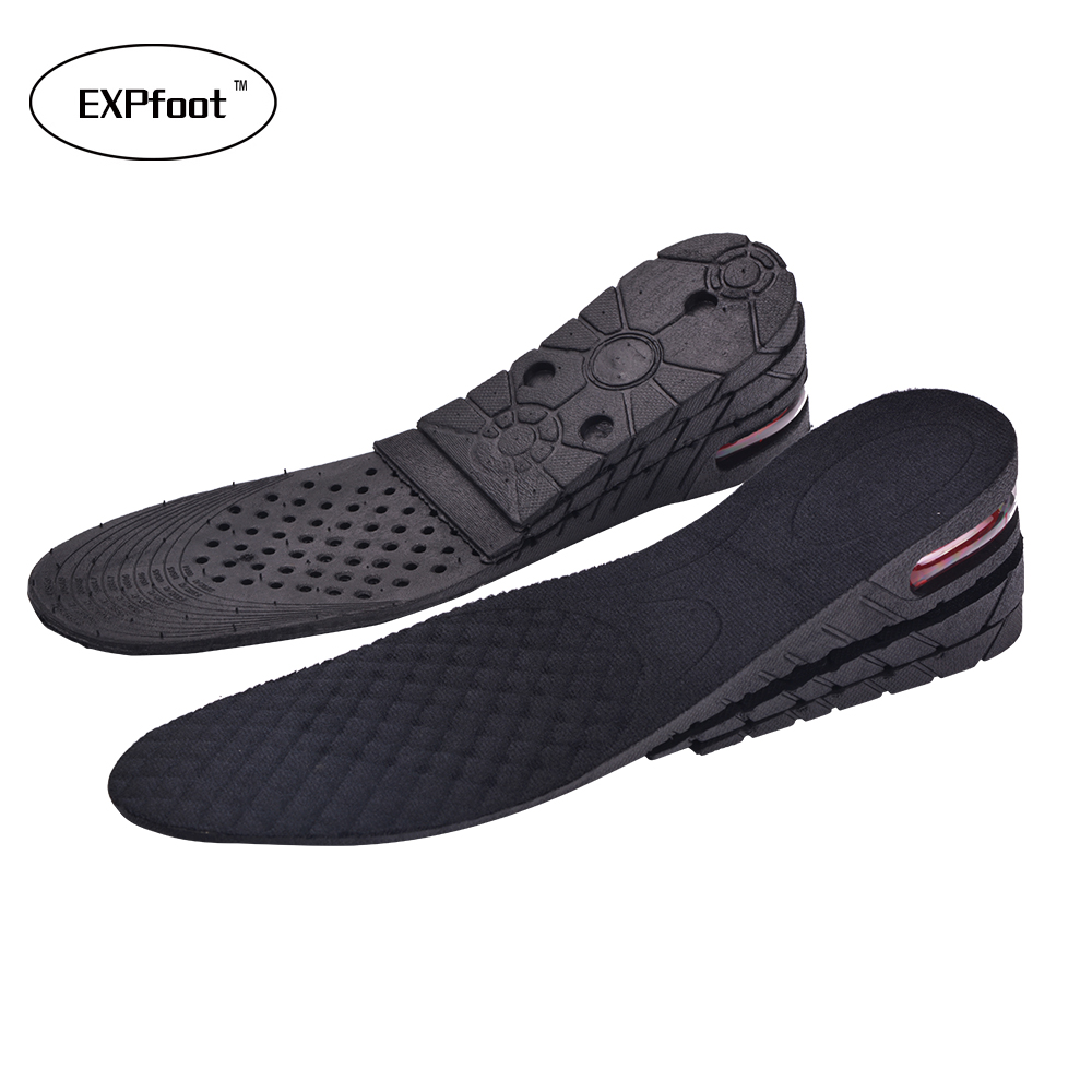 EXPfoot Height Increase Insoles 3-Layer 6CM Adjustable Air Cushion Invisible Lift Pads soles for shoes inserts men and women