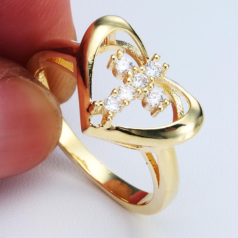 New Arrival Gold Color Cross Micro White Zircon Finger Ring for Lover Heart love Wedding Party Luxury Lady Fashion Jewelry
