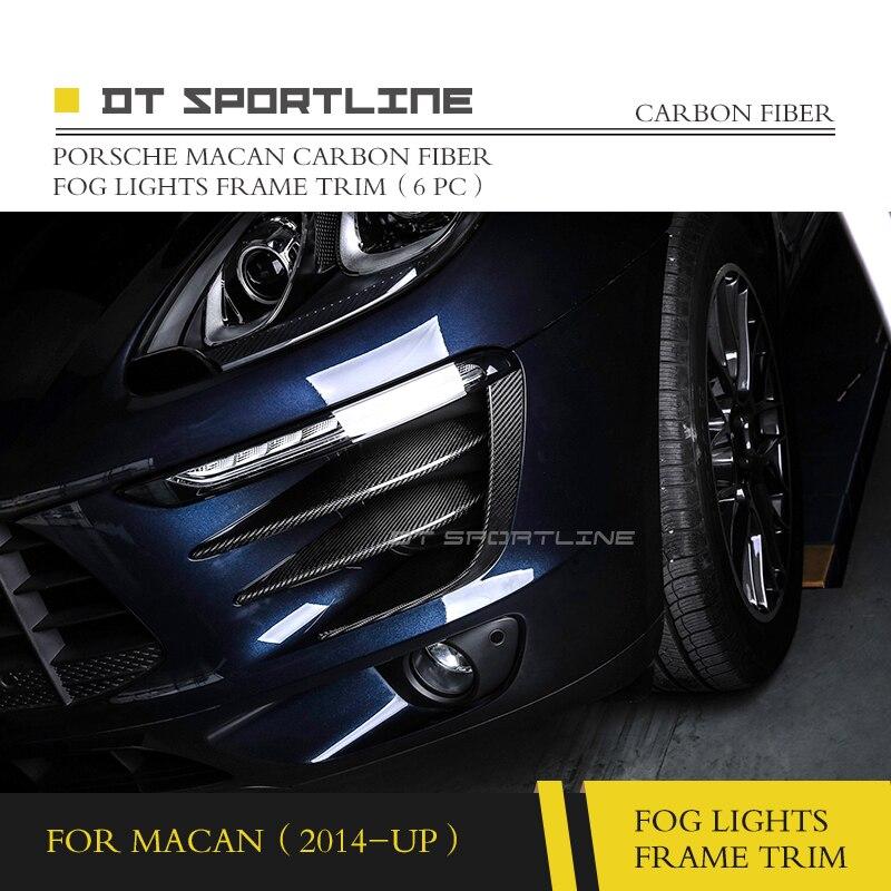 100% Настоящее углеродное волокно для Porsche Macan FogLight украшение противотуманной фары отделка автомобильный стиль foglamp рамка отделка переднего б...