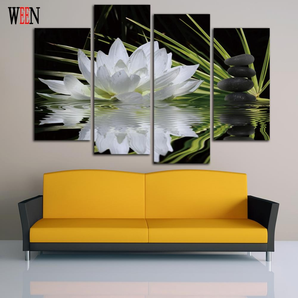 4 Pieces Canvas Arts Print Flower White Lotus In Black Wall Picture ...
