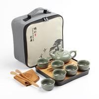 Ge Yao Ru kiln travel tea set portable bag Tea Set fast passenger cup Business office company Tea gifts custom logo Fast Post