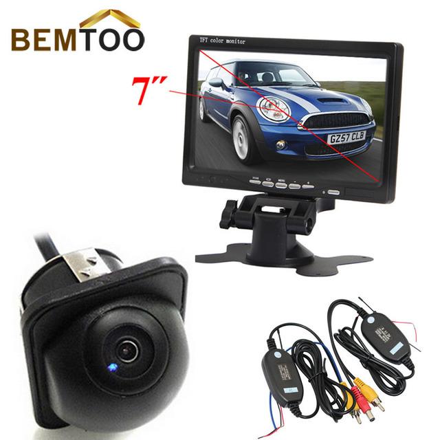"""BEMTOO 2.4G Sem Fio 7 """"Monitor de LCD TFT a Cores 2 Entrada de Vídeo Com 170 Grande Angular HD de Visão Noturna Câmera de Visão Traseira Do Carro"""
