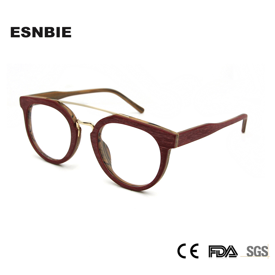 Syze syze ESNBIE Dizajn Kornizë Gratë Fake Lunettes Wood de Vue - Aksesorë veshjesh - Foto 2