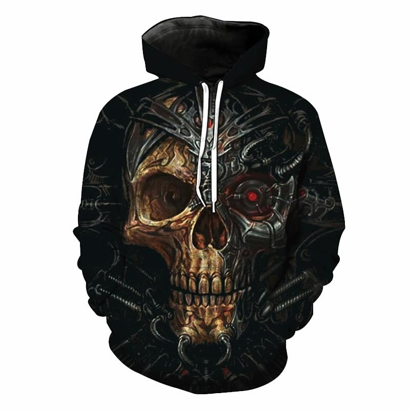 Jerwill European Style Hoodies Men Top Fashion Print Black Metal Skull 3d Hoodie Sweatshirt Casual Pullover Hipster Sweats