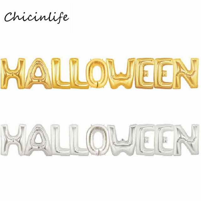 Chicinlife 9pcs/lot Gold/Silver Halloween Letters Balloon Hallween ...