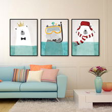 Canvas Painting Cute Cartoon Animal Hippo Wall Art Painting Animal Pictures Nordic Children's Room Home Decor Posters And Prints