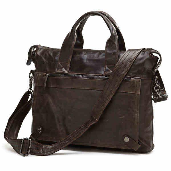 96f75dae3f5f Vintage Men Bags Genuine Leather Bag Business Bag Black   Coffee Briefcase Portfolio  Real Leather Men
