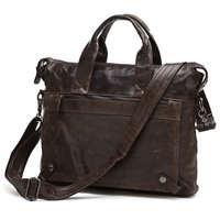 Vintage Men Bags Genuine Leather Bag Business Bag Black Coffee Briefcase Portfolio Real Leather Men Messenger