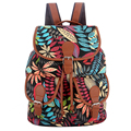 Exclusive New 2017 Handmade Black/Blue Foliage Leaf Leaves Print Canvas Bakcpack Bagpack Women Girl Female Mochila Feminina
