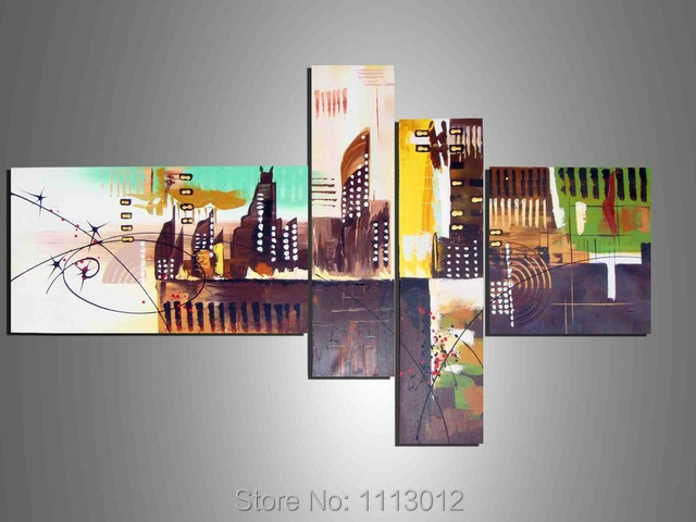 Fashion Hand-painted Modern Brown New York City Oil Painting On Canvas 4 Panel Arts Sets Home Wall Decor For Living Room Sale