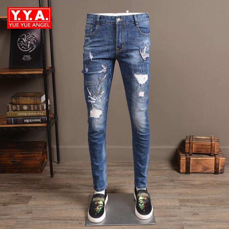 Jeans Masculino 2018 Fashion Brand Men Jeans Full Length Slim Fit Pencil Pant Man Casual Embroidery Classic Distressed Jean Man new famous brand man jeans cotton fashion leisure man jeans men straight designer jeans casual jeans pant plus size