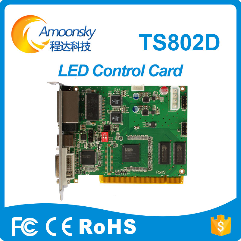TS802D LED sending card Full color LED video display sending card TS802 sending card replace TS801 a30 hd a30 full color led dpanel controller large display sending card and sensor box support ir temperature humidity brightness