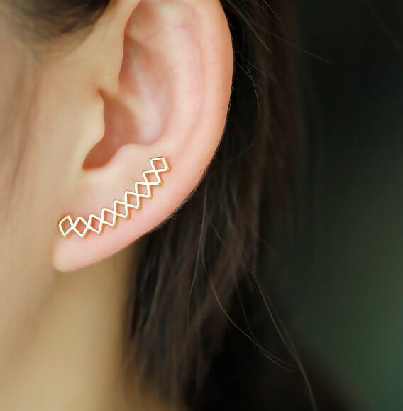 Jisensp Fashion Ear Cuff Geometric Earrings for Women Ear Climbers Ear Crawler Stud Earrings Brincos bijoux Gift E149
