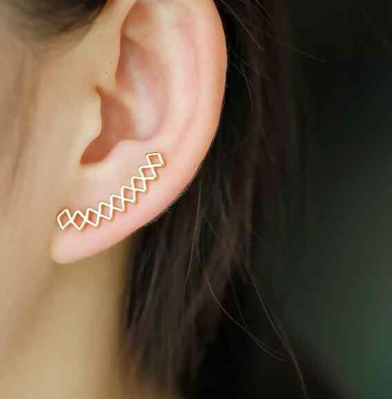 Jisensp модный Кафф для уха геометрические серьги для женщин ухо Альпинисты  ухо гусеничный серьги-гвоздики 961955fc56ef6