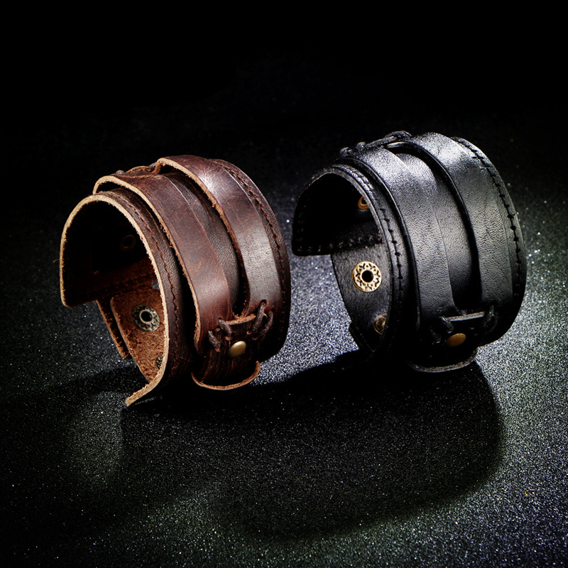 IF YOU Fashion Wide Double Layer Wrap wristband Leather Bracelet Homme Cuir For Men Fashion Casual Rock Cuff Armband Bracelets 21