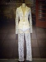 Women's Fashion White Lace Suits Perspective Blazer Pants Set Stage Dance Nightclub Dress Show Costume Female Singer Wear