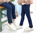 2016  girls oblique zipper kids jeans girls leggings baby leggings girls pants kids jeans girls jeans
