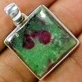 Hand make  Genuine Ruby Zoisite Stone Pendant 100% 925 Sterling Silver