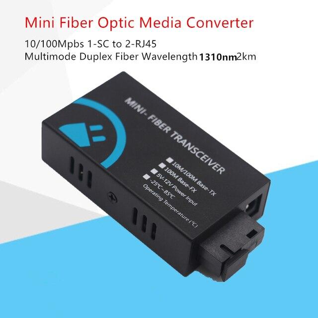 MINI włókna Transceiver 10/100Mbps z włókna optyczny media konwerter Wavelenth 1310nm 2km 2port RJ45 do 1port SC złącze