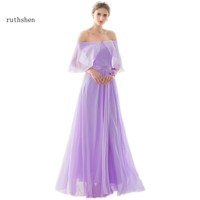 Ruthshen Lilac Light Purple Long Bridesmaid Dresses Off Shoulder D Chiffon Y Vestido Madrinha