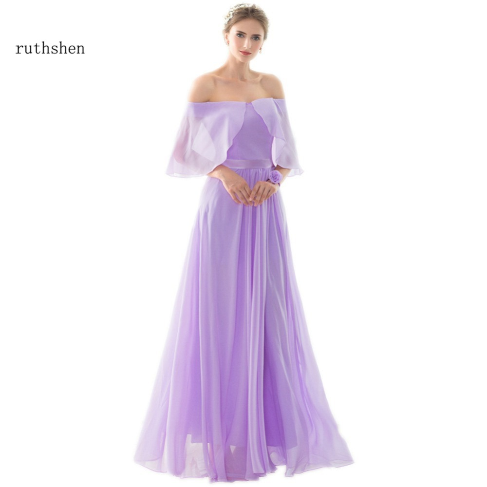 Online get cheap short purple lilac bridesmaid dresses aliexpress ruthshen lilac light purple long bridesmaid dresses cheap off shoulder draped chiffon sexy vestido madrinha ombrellifo Images