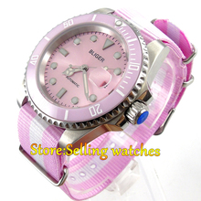 40mm Bliger pink dial vintage sapphire crystal Nylon Strap automatic movement womens watch