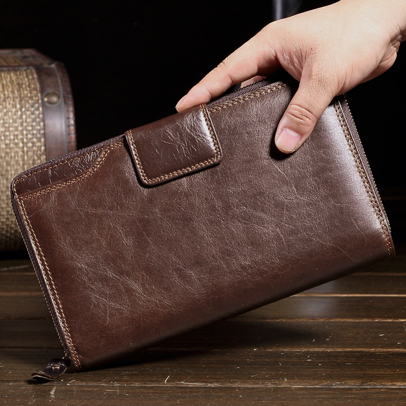 NEW Gentlemen Brief Genuine Leather Wallets Men Clutch Fashion Top Cowhide Purse Long Hasp Fashion Wallet Male Handbags M013 bvp luxury brand weave plain top grain cowhide leather designer daily men long wallets purse money organizer j50