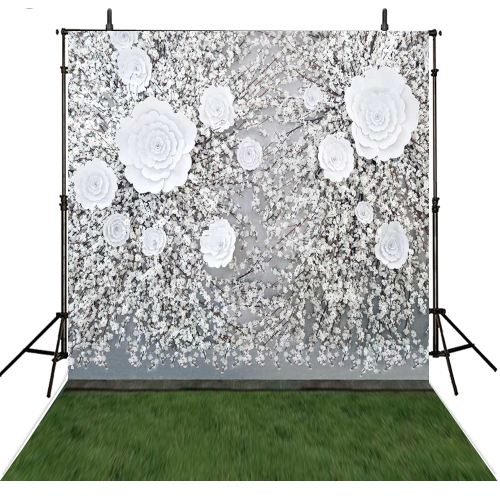 White Rose Flower Photo Background Backdrops Custom Wedding Photography photocall para bodas 63 rose de mai