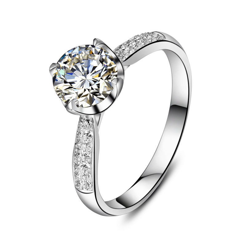 1CT Lovely Design 18K White Gold Ring Clear VVS1 Diamond Au750 Gold Female  Finger Ring Forever Lasting Quality In Rings From Jewelry U0026 Accessories On  ...