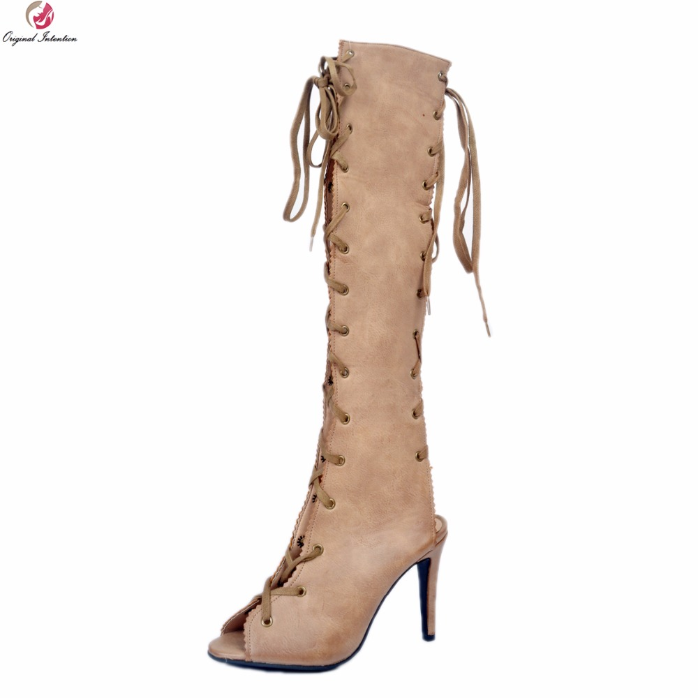Original Intention Super Sexy Women Knee High Boots Popular Peep Toe Thin Heel Boots Elegant Khaki Shoes Woman Plus US Size 4-20 apexway laptop battery for asus k52 k52d k52de k52dr k52f k52j k52jb k52jc k52je k52jk k52jr k52n k62 k62f k62j k62jr n82