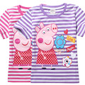 2-7 Years Cotton Kids Girls T-Shirt Cartoon Pig Tops And Tees Short Sleeve Summer Clothes Pink Purple White Striped Baby Tshirt
