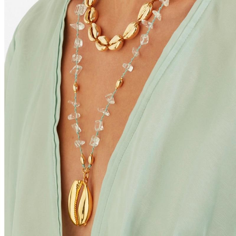 Bolo bohemian mulheres long big shell pingente de colar colar Collana di conchiglie Collier de búzios coquillages Colar de concha