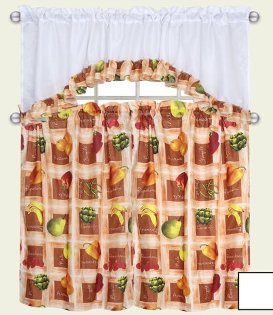 Fruit Pattern Kitchen Curtains: 3pcs Set Kitchen Curtain Free Fruit Design-in Curtains